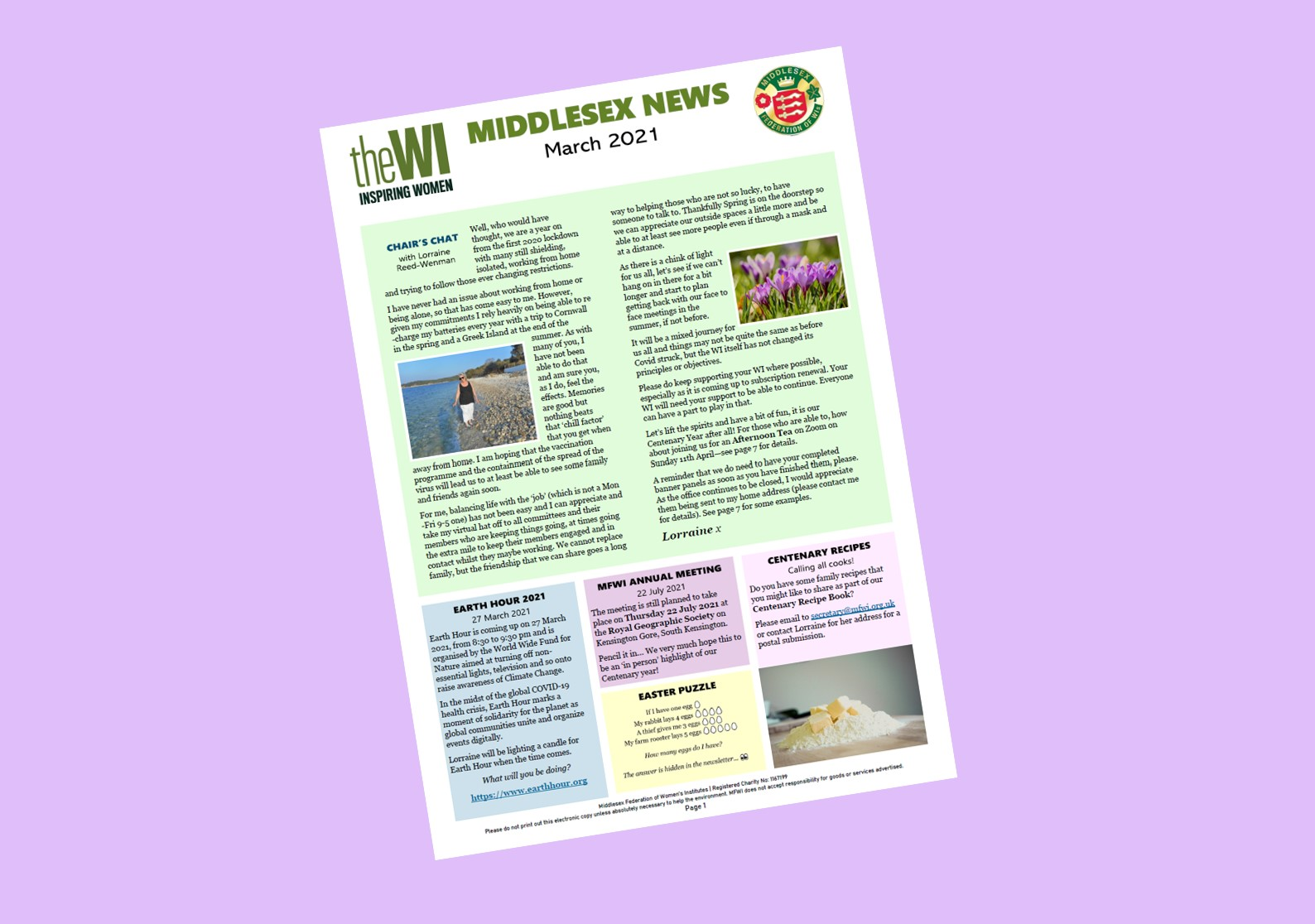 Middlesex News March 2021 - cover on a purple background