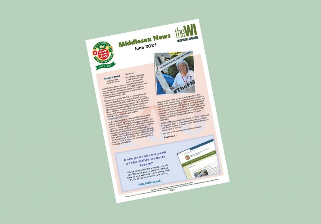 Front cover of newsletter on a green background