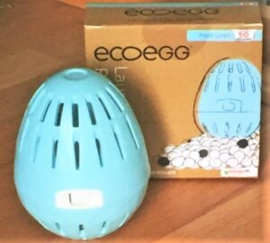 blue plastic egg with slots, and the cardboard packaging